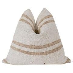 Vintage Kilim Berber Tribal Pillow / Natural & Caramel Stripe