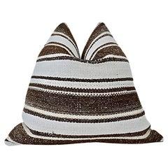 Vintage Kilim Berber Tribal Pillow / Natural & Espresso Stripe