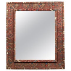 Vintage Kilim Covered Red, Blue and Beige Rectangular Mirror with Beveled Glass