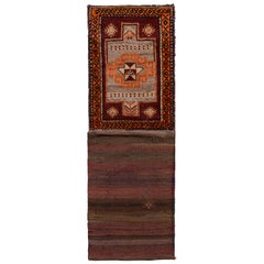 Vintage Kilim Runner, Brown and Red Tribal Bag Rug Design