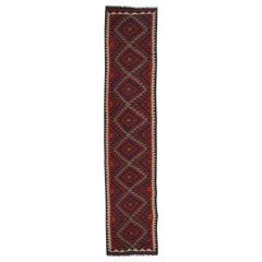 Vintage Kilim Runner Rug Handwoven Carpet Long Wool Rug