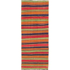Vintage Kilim Runner with Horizontal Stripes in Orange, Green, Blue, Red, Gold