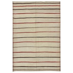 Vintage Kilim Turkish on Cream Background with Red and Blue Stripe's