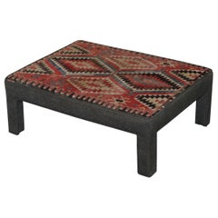 Vintage Kilim Upholstered Bench Ottoman Footstool Can Be Used as Coffee Table