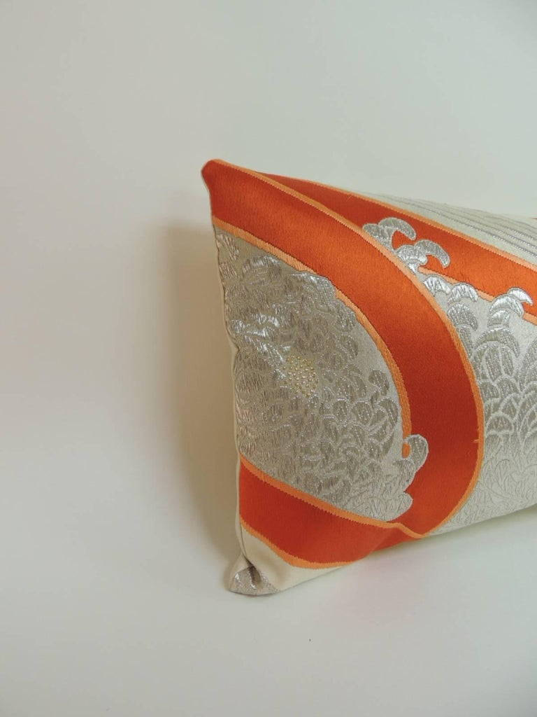 """Vintage Kimono Sash decorative silk embroidery Obi lumbar pillow. """"A kimono sash is a long flat piece of fabric used to secure a traditional Japanese robe called a kimono by being tied around the garment at the waist while it is being worn. The"""