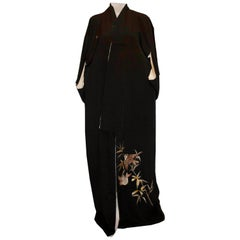 Vintage Kimono with Embroidered Sparrow Detail