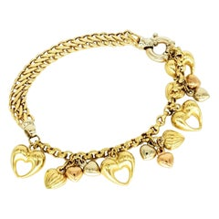 Vintage Kingdom of Hearts 18 Karat Gold Charm Bracelet