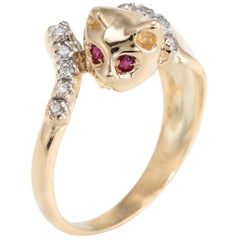 Vintage Kitty Cat Ring 14 Karat Yellow Gold Diamond Ruby Eyes Animal Jewelry