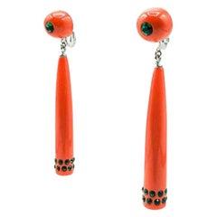 Vintage Kjl Faux Coral Long Drop Earrings 1960s