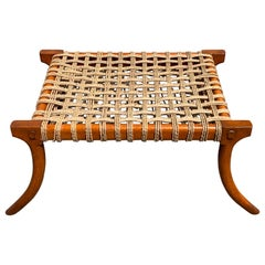 Vintage Klismos Mahogany and Woven Rope Bench, in the Manner of Robsjohn-Gibbons