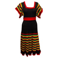 Vintage knitted Dress  - Black with Multi Colour Trim