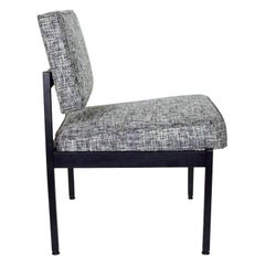 Vintage Knoll Style Industrial Chair in Black and Ivory Tweed, c. 1970's
