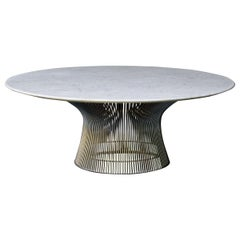 Vintage Knoll Warren Platner Architects Coral Stone Marble+Nickel Coffee Table