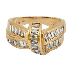 Vintage Knot Twist Diamond Wedding Band 1.50 Carat Baguette 14K Yellow Gold Ring