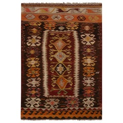 Vintage Konya Brown and Blue Wool Kilim Rug with Orange Accents