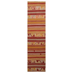 Vintage Konya Geometric Yellow and Red Wool Kilim Rug with Multi-Color Accents