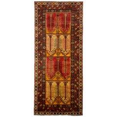 Vintage Konya Rug Midcentury Red Black Gold All-Over Geometric Pattern