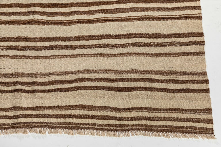 Turkish Vintage Konyan Flat Weave Rug with Brown and Natural Stripes For Sale