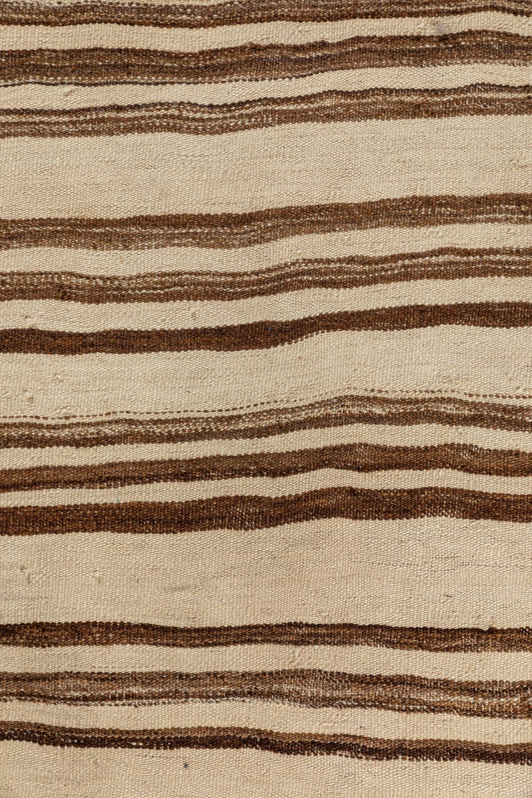 20th Century Vintage Konyan Flat Weave Rug with Brown and Natural Stripes For Sale
