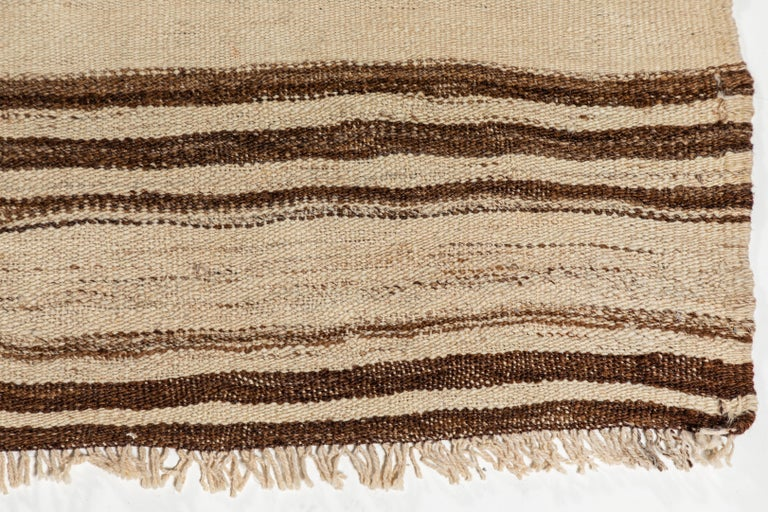 Wool Vintage Konyan Flat Weave Rug with Brown and Natural Stripes For Sale