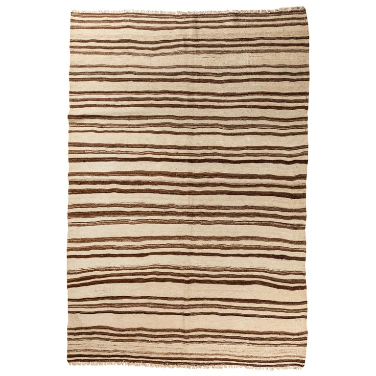 Vintage Konyan Flat Weave Rug with Brown and Natural Stripes For Sale