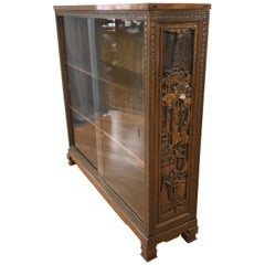 Vintage Korean Mahogany Glass Fronted Book Case
