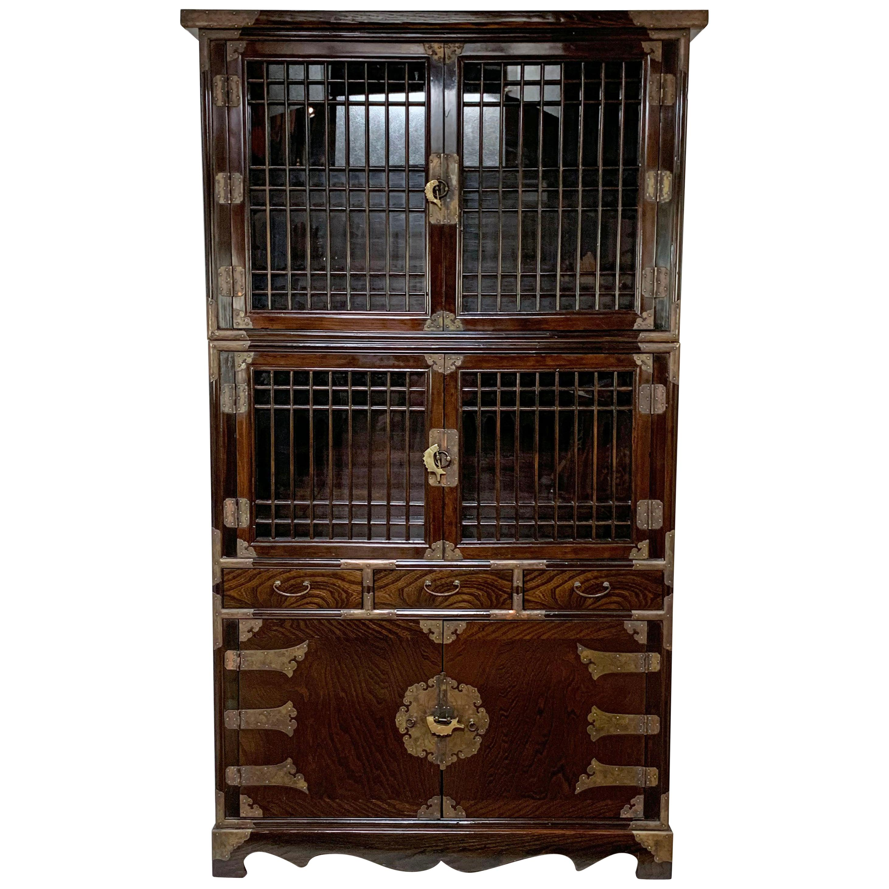 Vintage Korean Two-Piece Display Cabinet with Latticed Mullions