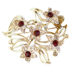 Vintage Kramer Floral Brooch with Ruby Rhinestones, Signed, circa 1940s