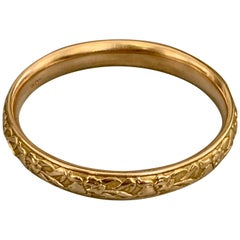 Vintage Krementz 14 Karat Yellow Gold Bangle