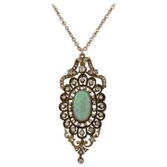 Vintage Krementz & Co. Victorian-Style Opal Starburst Pendant