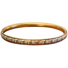 Vintage Krementz Signed Floral Enamel 14 Karat Yellow Gold Bangle Bracelet