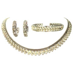 Vintage Krementz White Gold & Austrian Crystal, Necklace, Bracelet, Earrings S/4