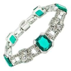 Vintage KTF Art Deco Emerald & White Paste Cocktail Bracelet 1935