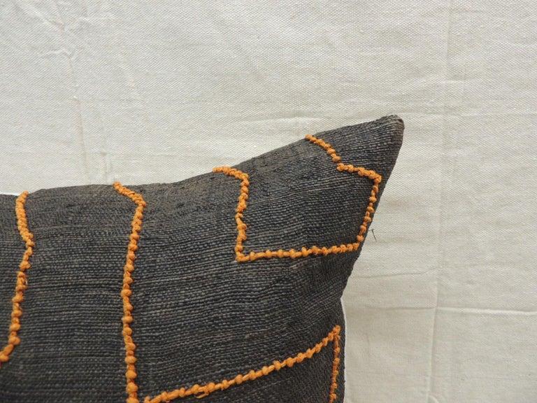 Tribal Vintage Kuba Orange and Black Handwoven Patchwork African Decorative Pillow For Sale