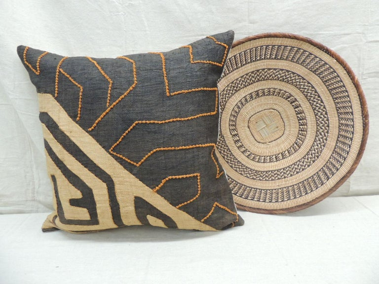 Hand-Crafted Vintage Kuba Orange and Black Handwoven Patchwork African Decorative Pillow For Sale