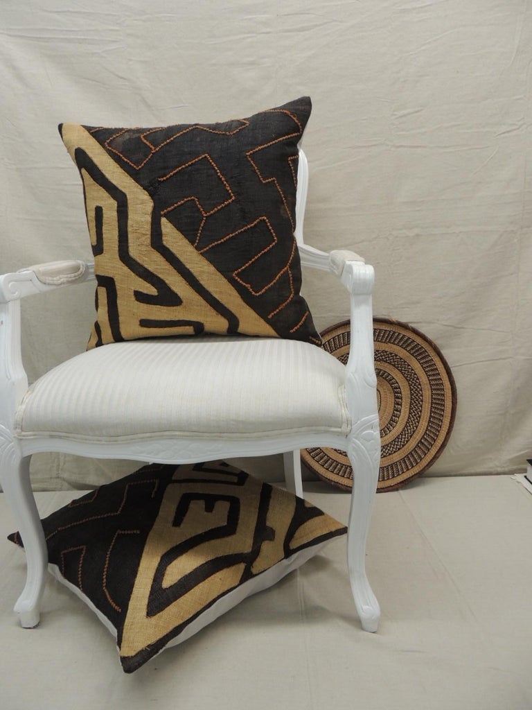 Mid-20th Century Vintage Kuba Orange and Black Handwoven Patchwork African Decorative Pillow For Sale