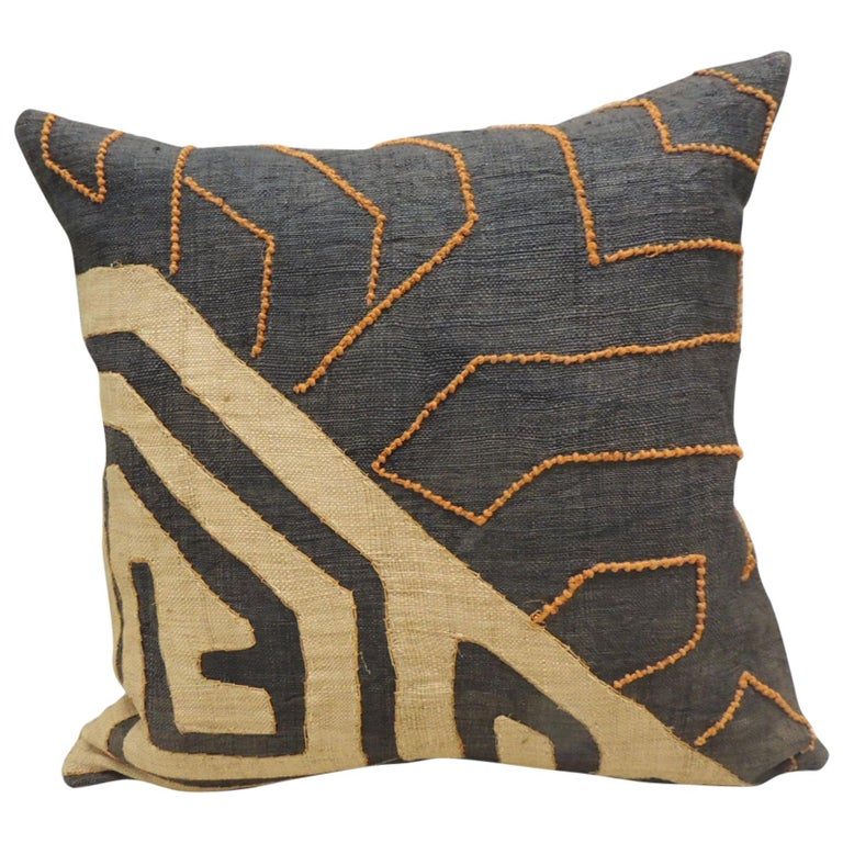 Vintage Kuba Orange and Black Handwoven Patchwork African Decorative Pillow For Sale