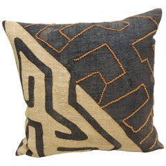 Vintage Kuba Orange and Black Handwoven Patchwork African Decorative Pillow