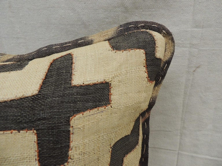 Tribal Vintage Kuba Tan and Black Handwoven Patchwork African Decorative Pillow For Sale