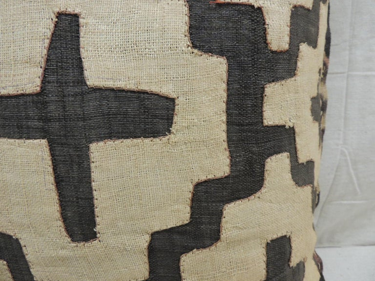 Hand-Crafted Vintage Kuba Tan and Black Handwoven Patchwork African Decorative Pillow For Sale
