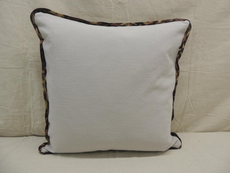 Vintage Kuba Tan and Black Handwoven Patchwork African Decorative Pillow In Good Condition For Sale In Wilton Manors, FL