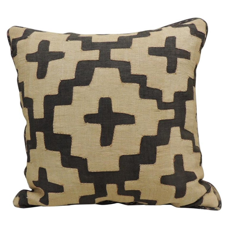 Vintage Kuba Tan and Black Handwoven Patchwork African Decorative Pillow For Sale