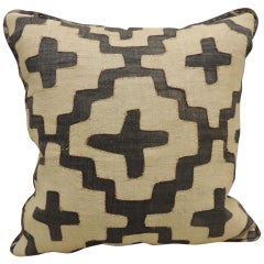 Vintage Kuba Tan and Black Handwoven Patchwork African Decorative Pillow