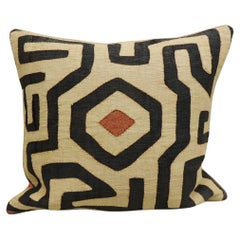 Vintage Kuba Tan and Black Handwoven Patchwork Square African Decorative Pillow