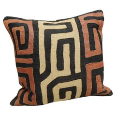Vintage Kuba Tan and Red Handwoven Patchwork Square African Decorative Pillow
