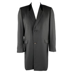 Vintage KUPPENHEIMER Size S Black Wool Peak Lapel Long Coat