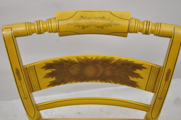 North American Vintage L. Hitchcock Yellow Painted Stenciled Rush Seat Dining Side Chair For Sale