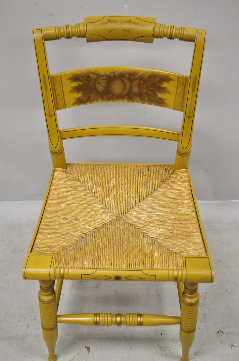 Vintage L. Hitchcock Yellow Painted Stenciled Rush Seat Dining Side Chair In Good Condition For Sale In Philadelphia, PA