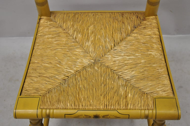 20th Century Vintage L. Hitchcock Yellow Painted Stenciled Rush Seat Dining Side Chair For Sale