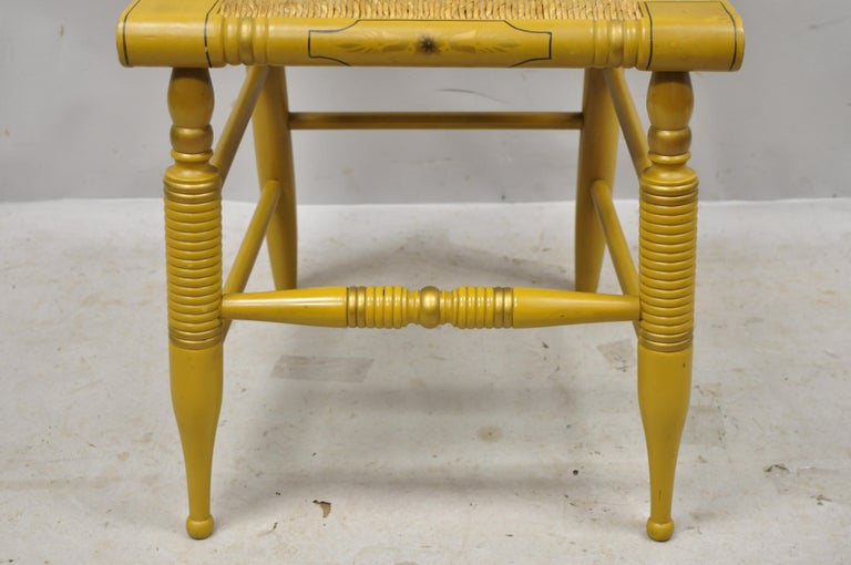 Vintage L. Hitchcock Yellow Painted Stenciled Rush Seat Dining Side Chair For Sale 1